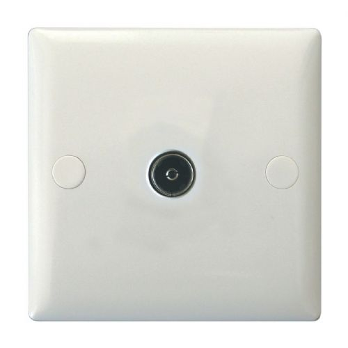 Varilight XO8W Value Polar White 1 Gang Co-Axial TV Socket